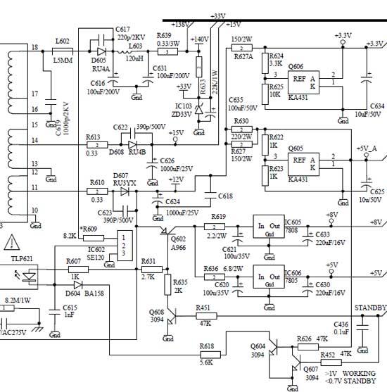 Схема вторичных цепей шасси 5P60