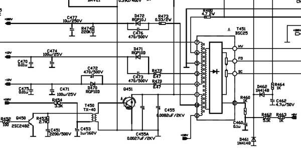 схема  строчной развертки телевизора Erisson 21F7