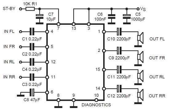 обычная схема включения TDA 7377