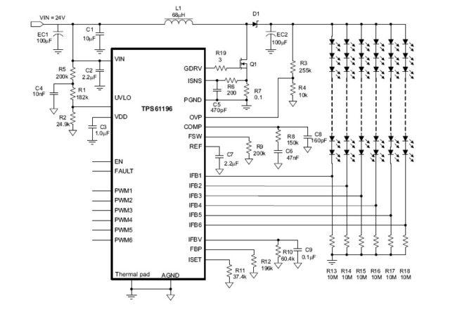 типовая схема включения TPS61196